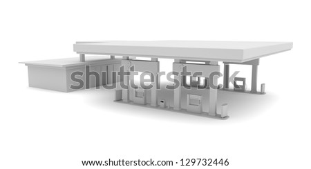 3d rendered image of project for petrol station - stock photo