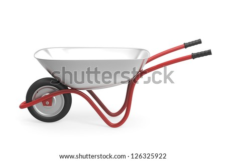 3d rendered image of wheelbarrow on white background - stock photo