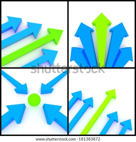 3d rendered image set of blue and green 3d arrows on a white background. Destination, direction leadership, growth concept.