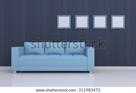 3d rendered interior composition of a sofa and pictures on a wall. - stock photo