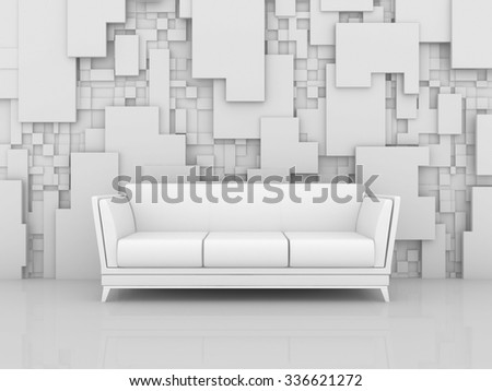 3d rendered interior composition with abstract decorations on wall. - stock photo