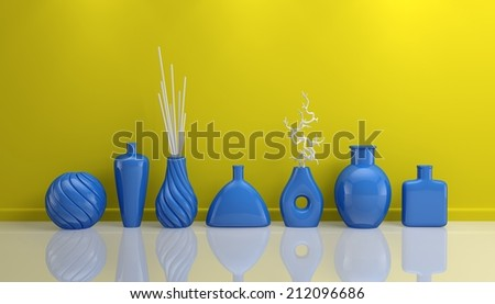 3d rendered interior composition with decorative pottery.