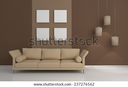 3D rendered interior composition with sofa and pictures on wall. - stock photo