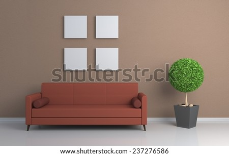 3D rendered interior composition with sofa and pictures on wall.