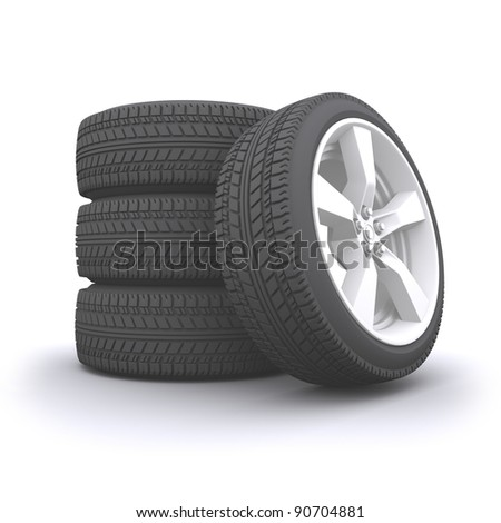 3d rendered isolated wheel set