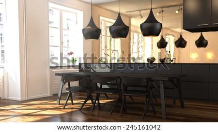 3D rendered kitchen - stock photo