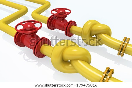 3D rendered knot from pipeline. Concept of energy crisis. - stock photo