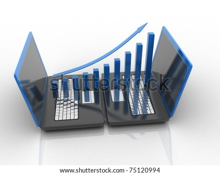 3d rendered laptop with business chart isolated on white background