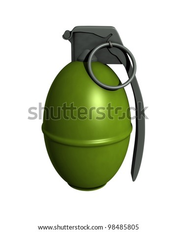 3D Rendered M61 Grenade on a White Background