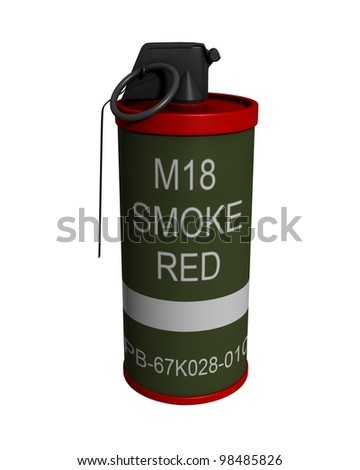 3D Rendered M18 Red Smoke Grenade on a White Background - stock photo