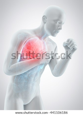 3d rendered, medically accurate 3d illustration of a coughing pose - stock photo