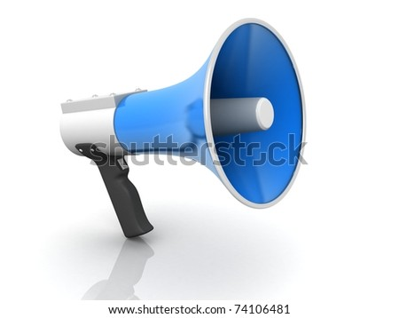 3d rendered Megaphone isolated  on white background - stock photo