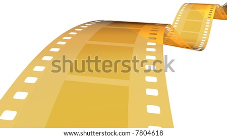 3D rendered 35 mm gold film isolated in white background - stock photo