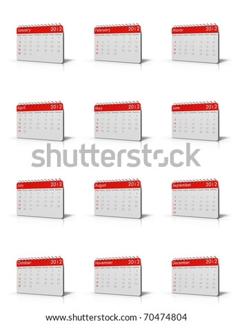 3d rendered Monthly calender of 2013 with spiral on top and square corners - stock photo