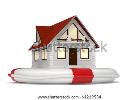 3d rendered nice detailed house sitting on a white lifebuoy representing house insurance - Isolated - stock photo