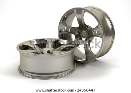 3D rendered photorealistic pearlescent rims