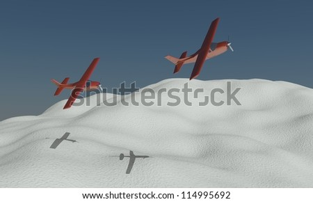3D rendered planes in winter