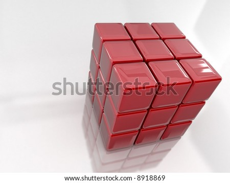 3d rendered puzzle cube - stock photo