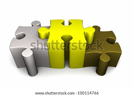 3d rendered puzzle pieces interlocking in a stepped orientation resembling a winners podium, bronze, silver and gold.