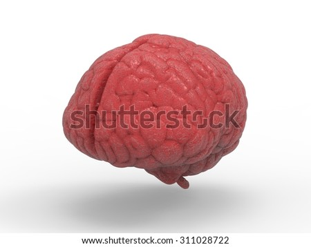 3d rendered red brain  - stock photo