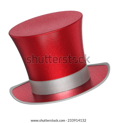 3D rendered red decoration top hats with shiny metallic flakes style surface - isolated on white background - stock photo