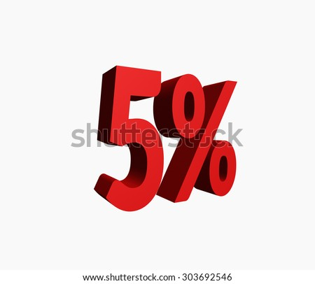 3D Rendered Red 5% Percent off Word Title for Discount Sale Promotions. Isolated in White Background - stock photo