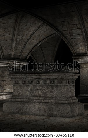 3D rendered scene of dark crypt with tomb