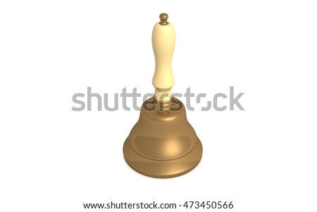 3D rendered school bell on white background