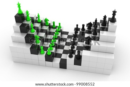 3d rendered Set of chess figures