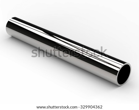3d rendered shiny metal pipe isolated on white - stock photo