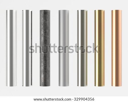 3d rendered shiny metal pipes  - stock photo
