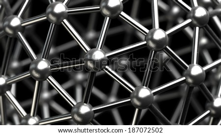 3D rendered silver glossy core molecules structure High resolution  - stock photo