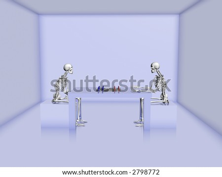 3d rendered skeletons are playing a game of chess - stock photo