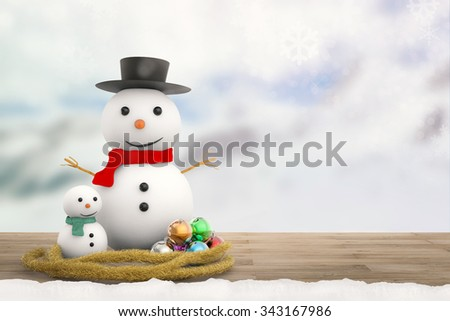3d rendered smiling snowman with winter background