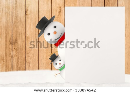 3d rendered snowman hiding on white board with wooden background - stock photo