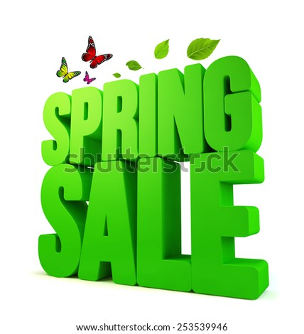 3D Rendered Spring Sale Word Isolated in White Background with Clipping Paths - stock photo