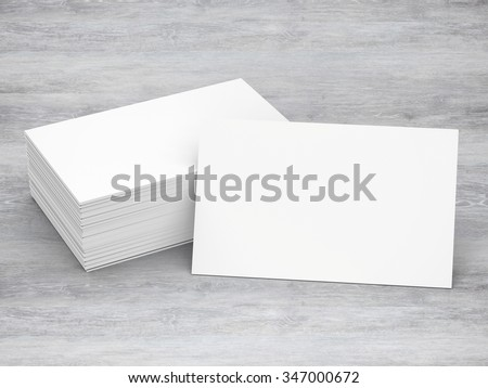 3d rendered stack of blank name cards - stock photo