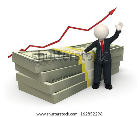 3d rendered succesful business man waving near a pack of money with a red graph arrow - stock photo