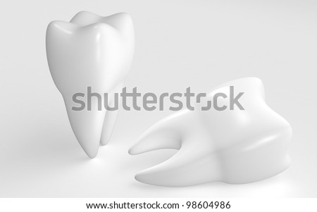 3d rendered teeth isolated on white background