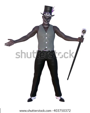 3D rendered voodoo shaman on white background isolated - stock photo