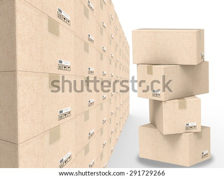 3d rendered warehouse storage concept - stock photo