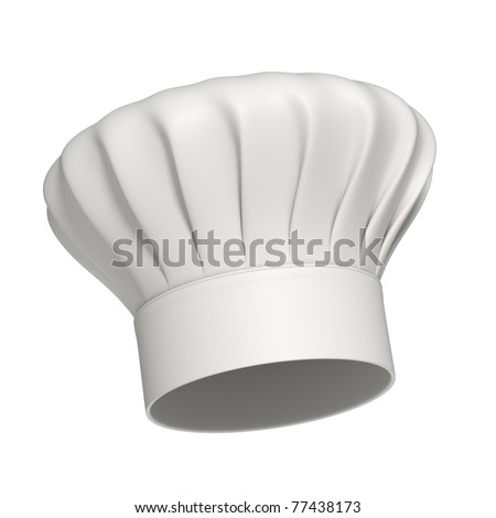 3d rendered white chef hat isolated on white background - High quality - stock photo