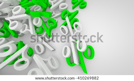 3D rendered white sale background with white and green percent symbols.