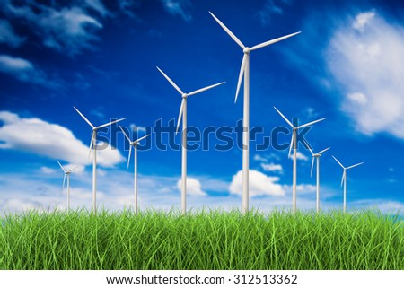 3d rendered wind turbines in grass field  - stock photo