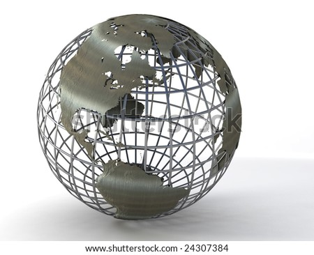 3D rendered wire-frame earth-globe showing mainly north , middle and south America.