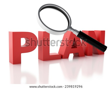 3d renderer illustration. examines plan and a magnifying glass.  isolated on white background - stock photo