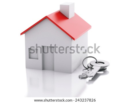 3d renderer illustration. house with key on white background. Real estate concept - stock photo