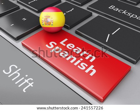 3d renderer illustration.  Learn spanish on computer keyboard. Education concept - stock photo
