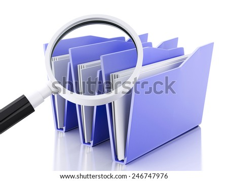 3d renderer illustration.Mmagnifying glass and computer files - stock photo
