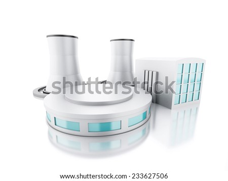 3d renderer illustration. Nuclear power plant. isolated white background - stock photo